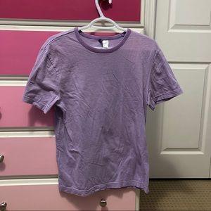 divided purple white striped short sleeve shirt